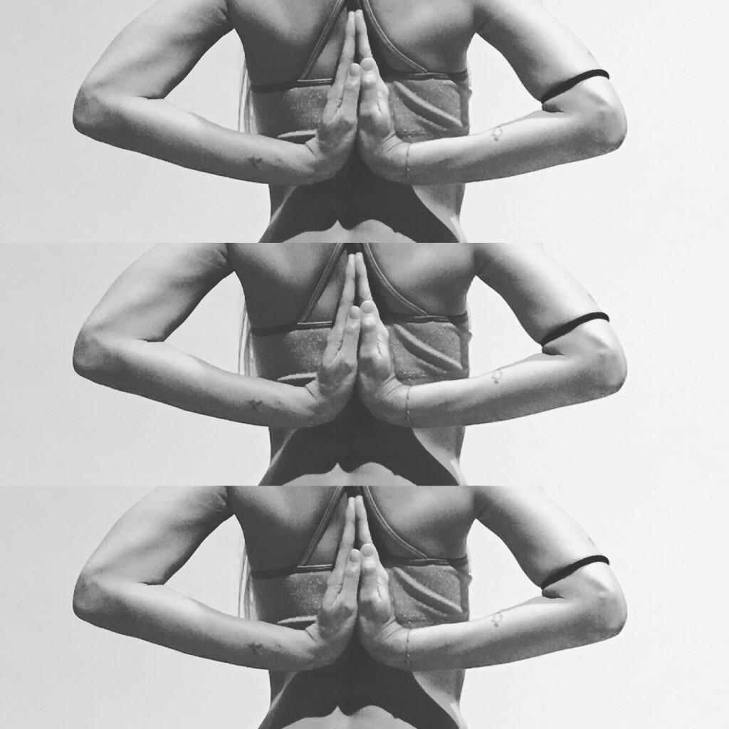Reverse prayer pose