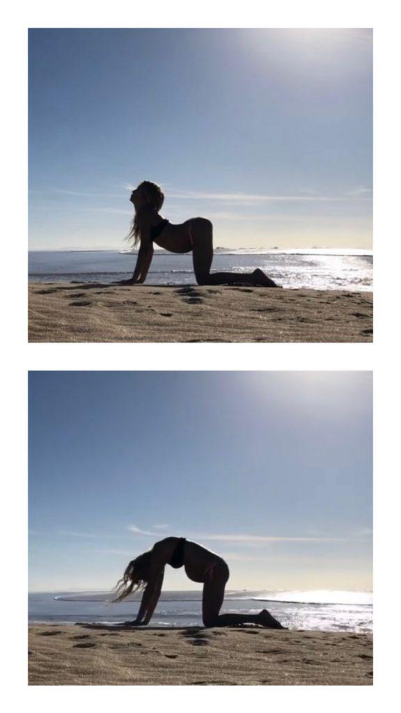 posturas de yoga para embarazadas Postura de gato o Marjaryasana y postura de la vaca o Bitilasana